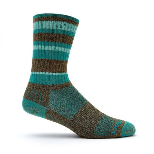 Adventure Crew Sock (brown and teal striped)