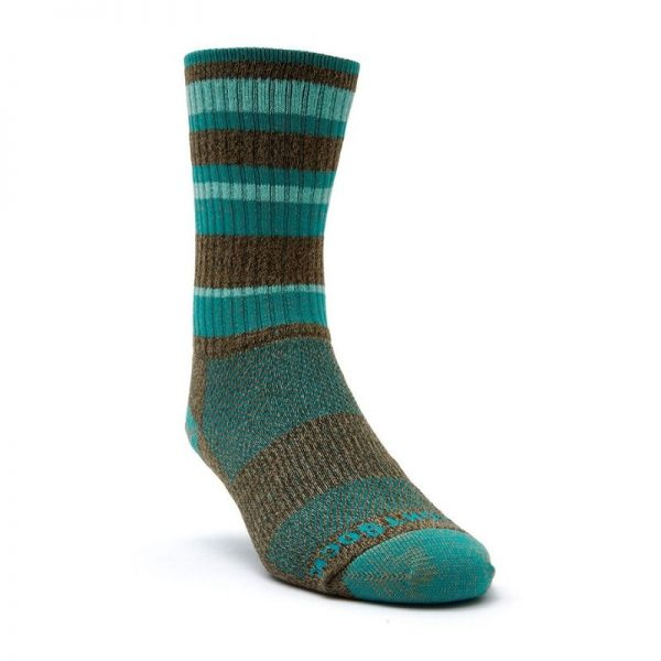 Adventure Crew Sock (brown and teal striped) - front angle