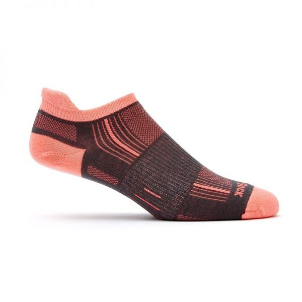 Stride Tab (ankle) socks - ash and coral - side view