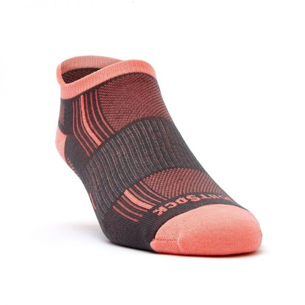 Stride Tab (ankle) socks - ash and coral - front angle