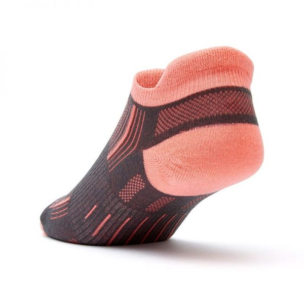 Stride Tab (ankle) socks - ash and coral - back angle